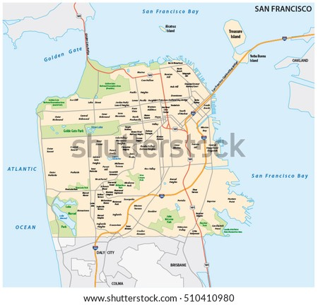 San Francisco Road Neighborhood Vector Map Stock Vector - San francisco map vector free download