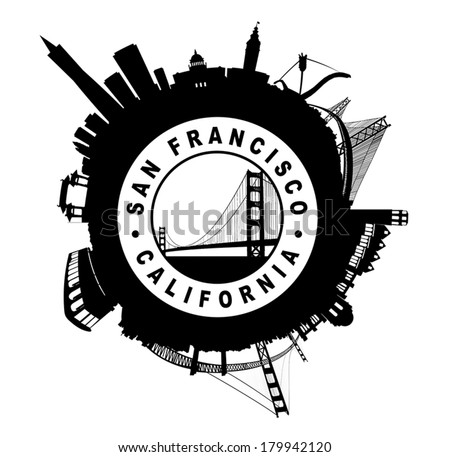 San Francisco Skyline circular Seal symbol Vector illustration - stock vector