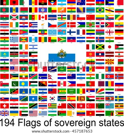 San Marino, collection of vector images of flags of the world