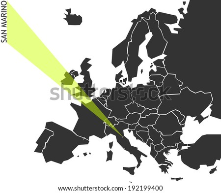 San Marino - political map of Europe with marked state. Marker looks like ray of light. (vector illustration) - stock vector