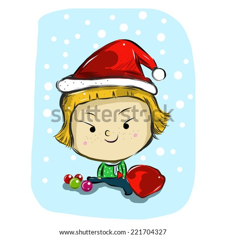 san-ty girl Christmas day cute cartoon funny