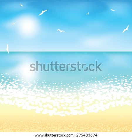 Sand beach at sunset time. Vector illustration.  - stock vector