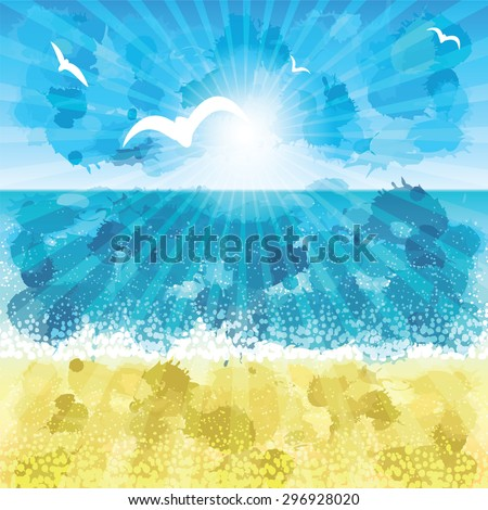 Sand beach at sunset time. Vector illustration.