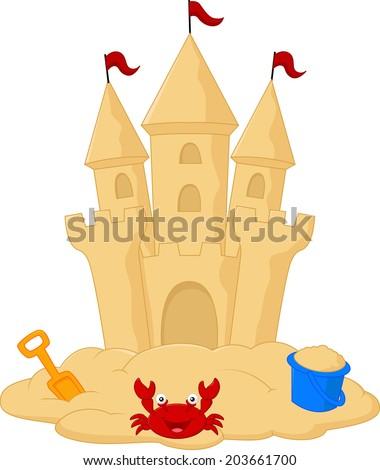 Sand castle cartoon - stock vector