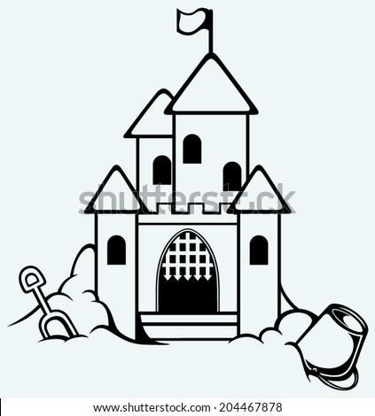Sand castle. Childrens bucket and shovel - stock vector