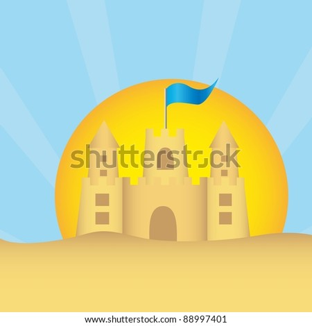 sand clastle with summer landscape over sand. vector - stock vector