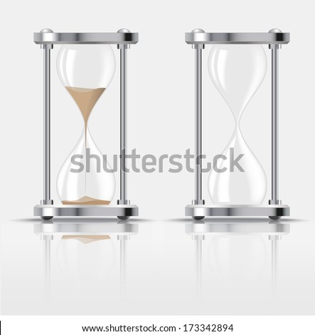 Sand falling in the hourglass on dark background. Vector illustration