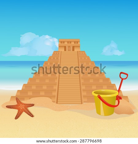Sand sculpture on tropical beach. Copy of Mayan pyramid made from sand. EPS10 vector illustration - stock vector