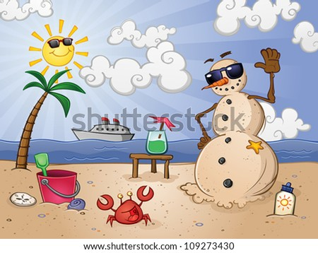 Sand Snowman Cartoon Character on a Tropical Vacation - stock vector