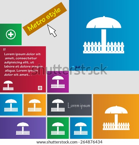 Sandbox icon sign. Metro style buttons. Modern interface website buttons with cursor pointer. Vector illustration - stock vector