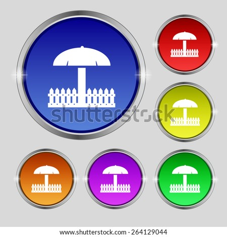 Sandbox icon sign. Round symbol on bright colourful buttons. Vector illustration - stock vector