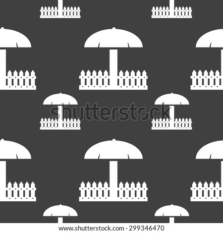 Sandbox icon sign. Seamless pattern on a gray background. Vector illustration - stock vector