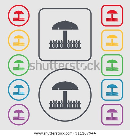 Sandbox icon sign. Symbols on the Round and square buttons with frame. Vector illustration - stock vector