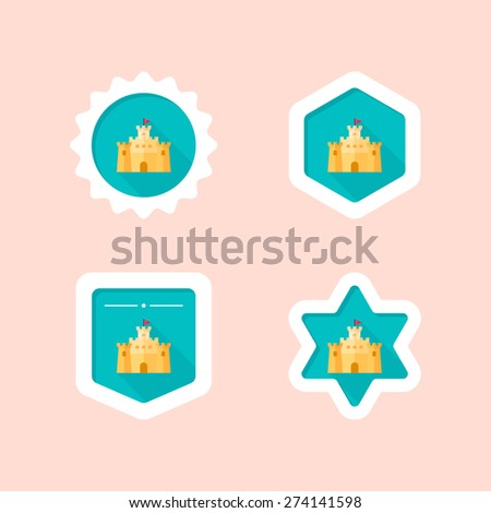 sandcastle flat icon with long shadow - stock vectorSandcastle Icon
