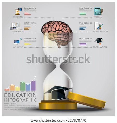 Sandglass Education And Graduation With Brain Infographic Design Template - stock vector