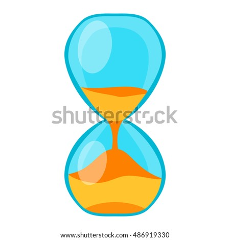 Sandglass icon, time hourglass, sand clock flat design history second old object