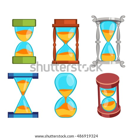 Sandglass icons set, time hourglass, sand clock flat design history second old object. Vector illustration sand clocks hourglass timer hour minute watch countdown flow measure.