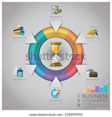 Sandglass Money And Financial Business Infographic Design Template - stock vector