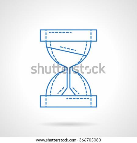 Sandglass or hourglass symbol. Time flow concept. Deadline, management, workflow. Blue flat line style vector icon. Single web design element for mobile app or website. - stock vector