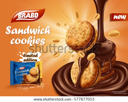 Sandwich chocolate cookies ad, flowing chocolate with cookies and nuts element, biscuit package design on orange background with glowing effect in 3d illustration
