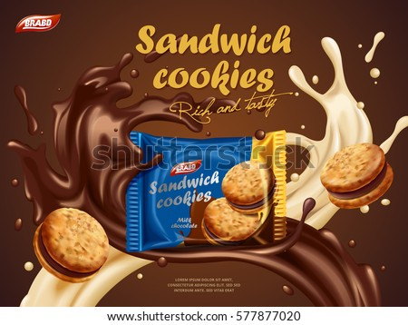 Sandwich cookies ads, milk chocolate flavor with tasty liquid twisted in the air and package in the middle in 3d illustration