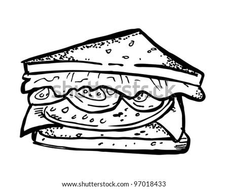 sandwich doodle - stock vector