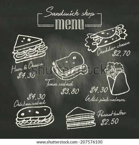 Sandwich doodle menu drawing on chalk board background - stock vector