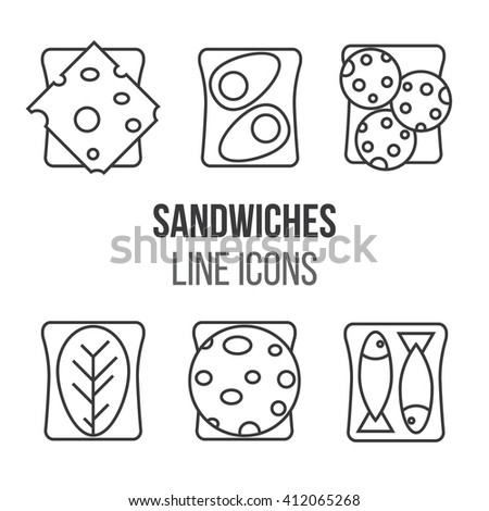 Sandwich line style icons set. Vector illustration. Meat and sandwiches.Different kinds of sandwiches. Breakfast traditional menu. - stock vector