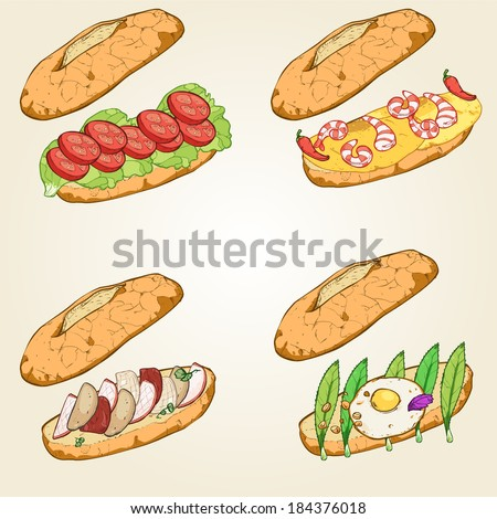sandwich set - stock vector
