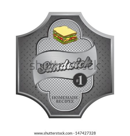 sandwich silver steel label - stock vector