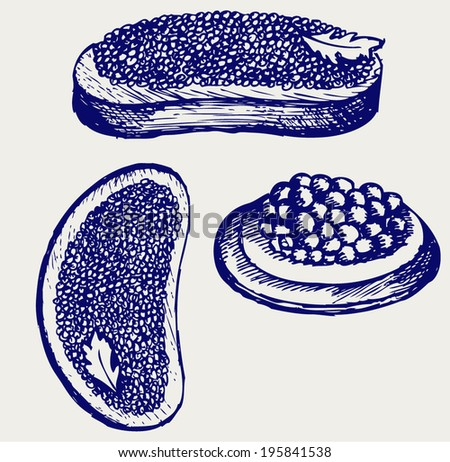 Sandwich with butter and caviar. Doodle style - stock vector