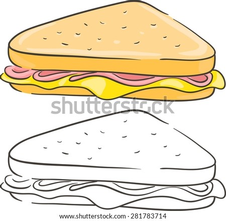 Sandwich with cheese and ham. Isolated set - stock vector