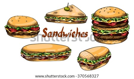 Sandwiches, burgers. Isolated set