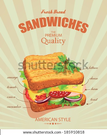 Sandwiches. Vector illustration. American style. Ingredients label. - stock vector