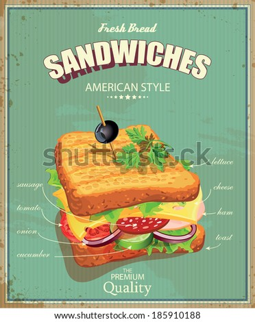 Sandwiches. Vector illustration. American style. Vintage. Ingredients label. - stock vector