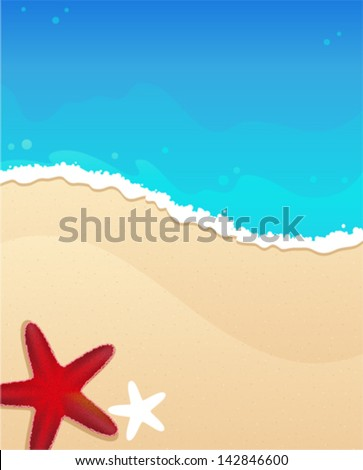 Sandy beach and foaming waves with starfishes - stock vector