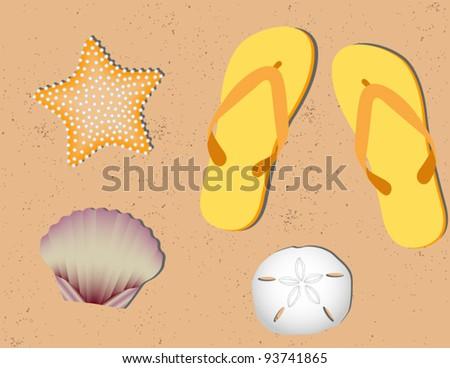 Sandy Beach Background - stock vector