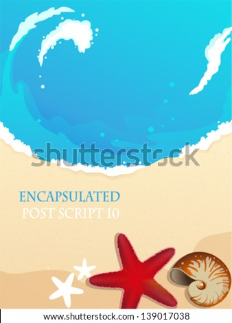 Sandy coast and foaming waves with starfish and cockleshell - stock vector