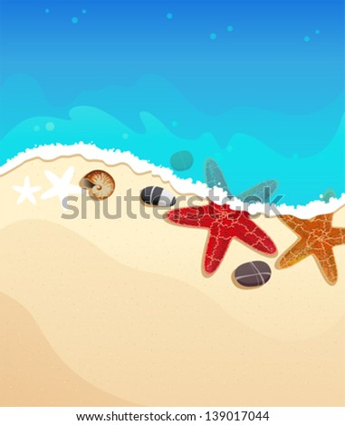 Sandy coast and foaming waves with starfishes, stones and cockleshell - stock vector