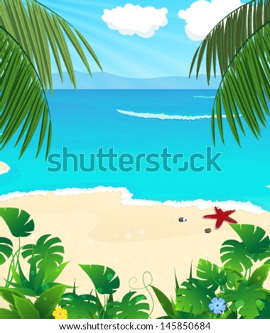 Sandy coast with palm trees and tropical vegetation - stock vector
