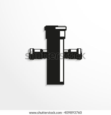 Sanitary elements. Connector for sewer pipes. Vector illustration.