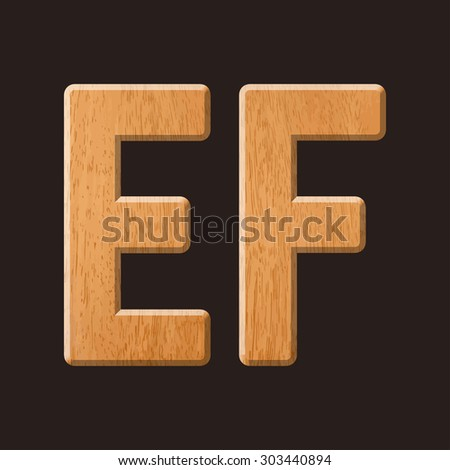 Sans serif geometric font with wood texture. Vector illustration  - stock vector