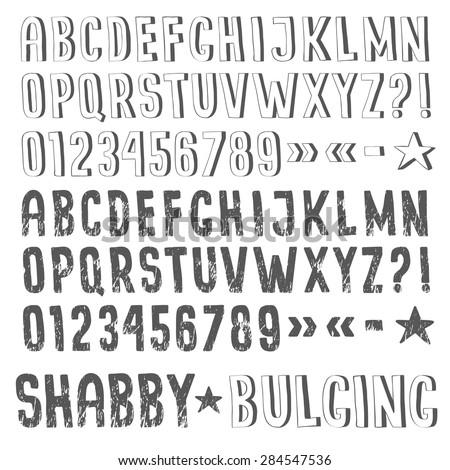 Shabby And Extruded Fonts Drawn By Hand Fancy Handmade Letters
