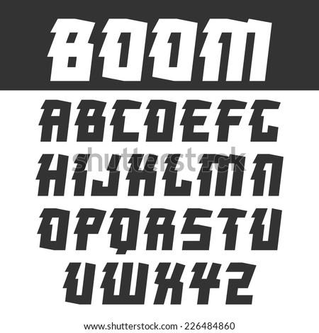 Sanserif  font for headlines in oriental style. Black font on light background - stock vector