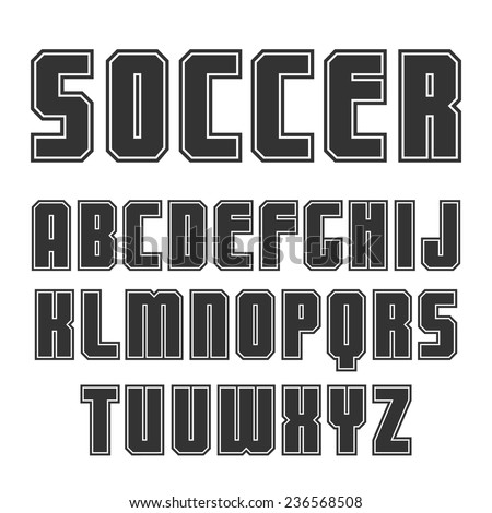 Sanserif font in sport style with contour. Black print on a white background - stock vector