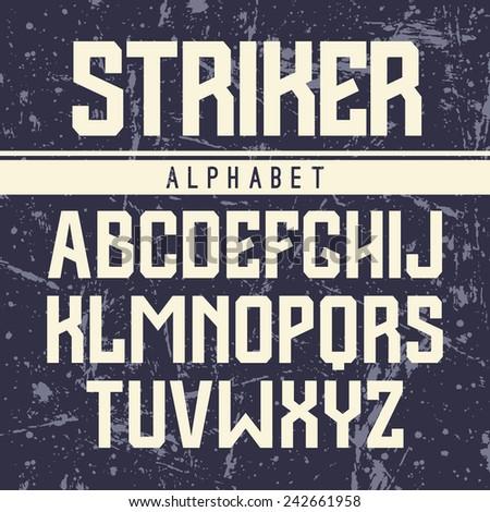 Sanserif font in the sport style. Light font on dark textured background - stock vector