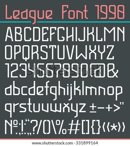 Sanserif font in thin line style. Full version. Light font on dark background - stock vector