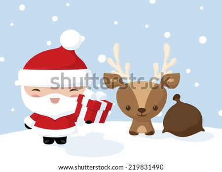 Santa and a reindeer making deliveries - stock vector