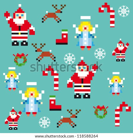 Santa and angels pixel characters christmas design template. Seamless pattern background vector illustration for decoration or gifts paper - stock vector