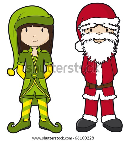 Santa and Elf - part of the 'girls' series - stock vector